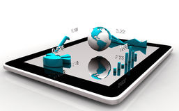 Modern financial instruments graphs, charts and Earth globe on a tablet screen. 3d rendering Stock Image