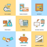 Modern financial line icons Stock Photography