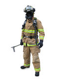 Modern firefighter in gear. With equipment isolated on a white background Stock Image