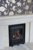 Modern fireplace Stock Photography