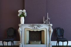 Modern fireplace. Fireplace with violet wall and chairs Royalty Free Stock Images