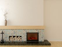 Modern fireplace Stock Image