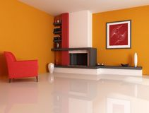 Modern fireplace. Ina orange living room with picture in the wall - digital artwork. The picture art on wall is a my photo Royalty Free Stock Image