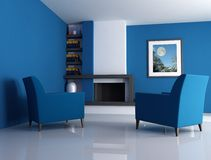 Modern fireplace blue version. Modern fireplace ina blue living room with picture in the wall - digital artwork. The picture art on wall is a my photo Stock Photo