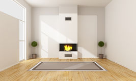 Modern fireplace in a empty room. Minimalist room with contemporary fireplace - 3D rendering Stock Photo