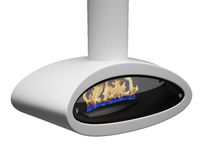 Modern fireplace. Fire  in a beautiful, modern fireplace.  isolated 3d render Stock Image