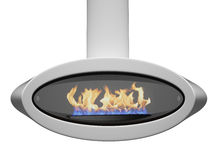 Modern fireplace. Fire  in a beautiful, modern fireplace.  isolated 3d render Royalty Free Stock Images