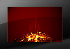 Modern fireplace with fire Stock Photos