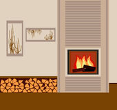 Modern fireplace in the interior living room Royalty Free Stock Photo
