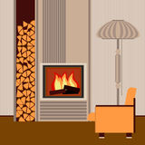 Modern fireplace in the interior living room Stock Image