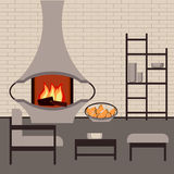 Modern fireplace in the interior living room Stock Photo