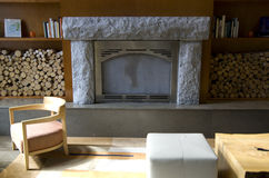 Modern fireplace living room Stock Images