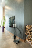 Modern fireplace in luxurious house Royalty Free Stock Photography