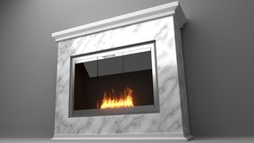 Modern fireplace made of marble with flames stock illustration