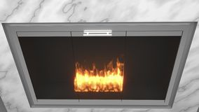 Modern fireplace made of marble with flames royalty free illustration
