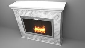 Modern fireplace made of marble with flames vector illustration