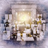 Modern fireplace at night with presents on wooden floor. Square Stock Photography