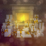 Modern fireplace at night with presents on wooden floor. Square Stock Images