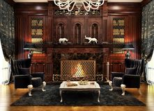 Modern fireplace room design interior. Evening view royalty free stock image