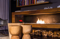 Modern fireplace in SIR F.K. Savigny Hotel Berlin Stock Images