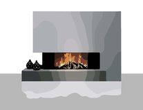 Modern Fireplace Vector Royalty Free Stock Photos