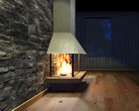 Modern Fireplace in white metal. Concrete stone wall. Soft Lights. 3D Render Image Stock Photography
