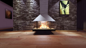 Modern Fireplace in white metal. Concrete stone wall. Soft Lights. 3D Render Image Stock Images