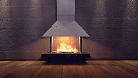 Modern Fireplace in white metal. Concrete stone wall. Soft Lights. 3D Render Image Royalty Free Stock Images