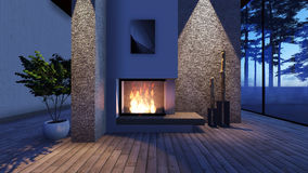 Modern Fireplace in white stone with lights Stock Image
