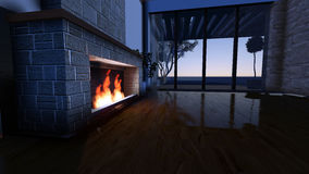 Modern Fireplace in white stone Stock Image