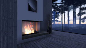 Modern Fireplace in white stone Royalty Free Stock Images