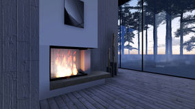 Modern Fireplace in white stone Stock Images