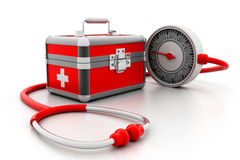 Modern First aid kit. 3d illustration of Modern First aid kit Stock Photos