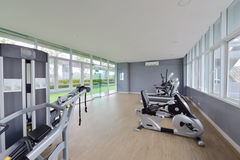 Modern Fitness Center interior design, luxury Gym Stock Photos