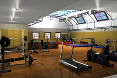 Modern fitness gymnasium Stock Photo