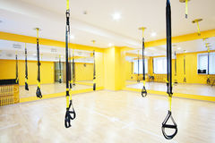 Modern fitness hall. Aerial ribbons in a modern fitness hall Royalty Free Stock Images