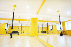Modern fitness hall. Aerial ribbons in a modern fitness hall Stock Photography