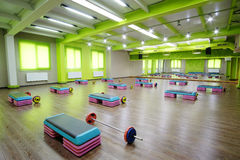 Modern fitness hall. Interior of a modern fitness hall Royalty Free Stock Photos