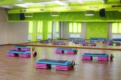Modern fitness hall. Interior of a modern fitness hall Stock Photos