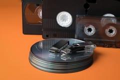 Modern flash drives and legacy storage media. ÑŽ royalty free stock photography