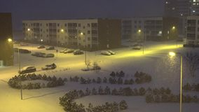 Modern flat apartment house district in winter. stock footage