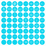 Modern flat blue linear icon set of web, multimedia and business Royalty Free Stock Image