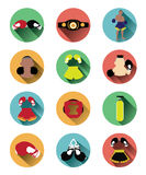 Modern flat boxing icons set with long shadow effect Royalty Free Stock Photography