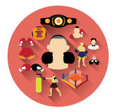 Modern flat boxing icons set with long shadow effect Royalty Free Stock Images