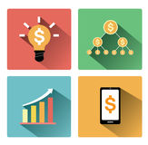 Modern flat business concept icons set with long shadow effect Royalty Free Stock Photography