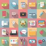 Modern flat business icons with long shadow style Stock Image
