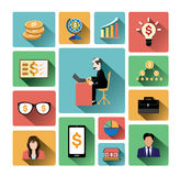 Modern flat business icons set with long shadow effect Royalty Free Stock Photo