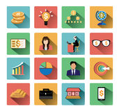 Modern flat business icons set with long shadow effect Royalty Free Stock Image