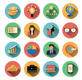 Modern flat business icons set with long shadow effect Royalty Free Stock Photos