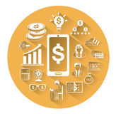 Modern flat business icons set with long shadow effect Royalty Free Stock Photography